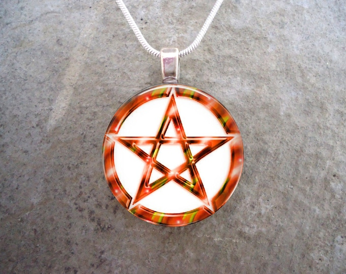 Wiccan Pentacle Jewelry - Glass Pendant Necklace - White and Orange - Free Shipping