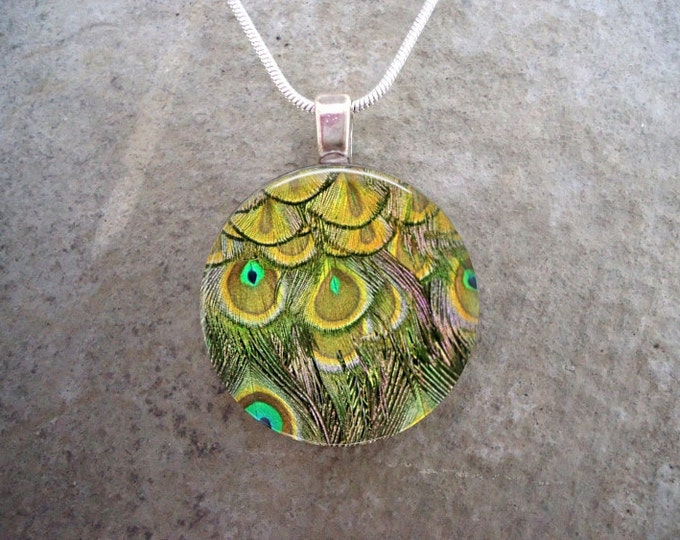 Peacock 6 - Yellow Green Feather Jewelry - Glass Pendant Necklace - sku PEACOCK06