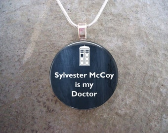 Doctor Who Jewelry - Sylvester McCoy is my Doctor - Glass Pendant Necklace