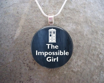 Doctor Who Gift - Handmade Glass Tile Pendant Necklace - The Impossible Girl - 1 Inch Diameter - Free Shipping