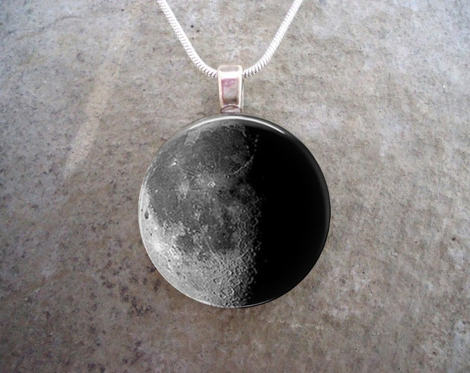 Waning Half Moon Phase - 1 Inch Domed Glass Pendant Necklace or Keychain - Astronomy - Science Teacher Gift - Secret Santa - Free Shipping