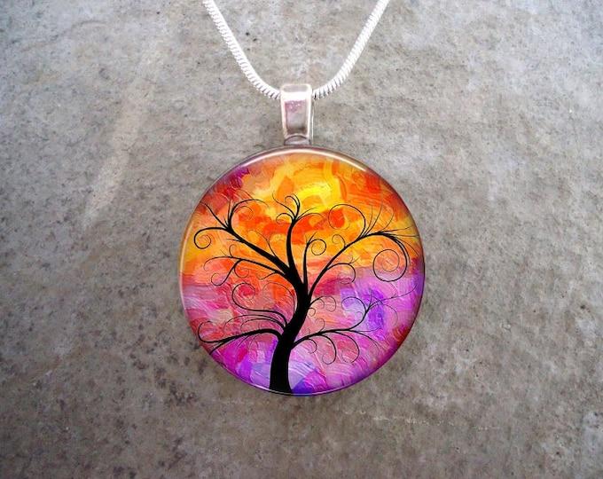 Tree Jewelry - Glass Pendant Necklace - Tree of Life Jewellery - Tree 14
