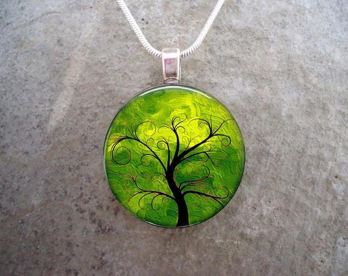Tree Jewelry - Glass Pendant Necklace - Tree of Life Jewellery -  - Free Shipping - sku TREE11