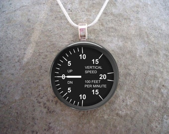 Pilot Jewelry - Vertical Speed Indicator - Glass Pendant - Aircraft Necklace