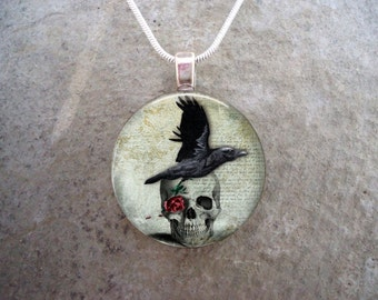Crow Jewelry - Bird Jewellery - Glass Pendant Necklace - Raven 11