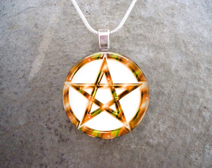 Wiccan Pentacle Jewelry - Glass Pendant Necklace - White and Yellow - Free Shipping