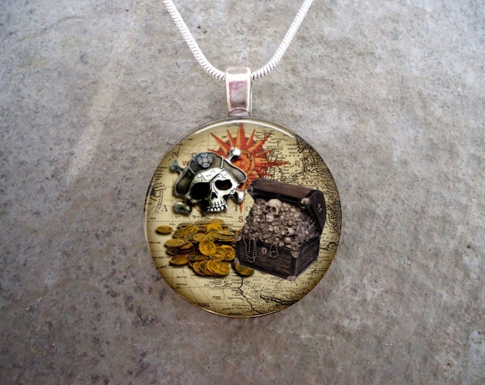 Pirate 21 - Pirate Skull and Treasure Jewelry - Glass Domed Pendant Necklace