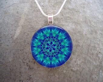 Mandala jewelry - Glass Pendant Necklace - Free Shipping - Style MANDALA42