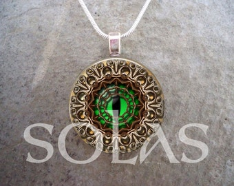 Steampunk Style Creature Eye Glass Pendant Necklace - Bronze, Beige, Green & Filligree - 1 Inch Domed Glass Jewelry - Style STEAM1-07