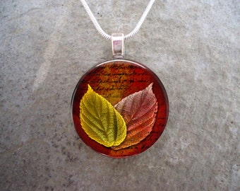 Beautiful Woodland Leaf Jewelry - Autumn Colours Glass Pendant Necklace - Green, Red, Orange Leaves - Free Shipping - Style AUTUMN13