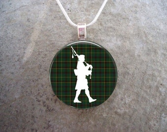 Celtic Jewelry - Glass Pendant Necklace - Highland Bagpipe Jewellery - Piper on Green Tartan