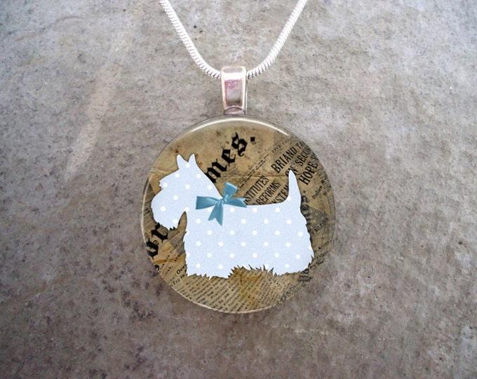 Celtic Jewelry - Dog Jewellery - Glass Pendant Necklace - Free Shipping - Style SCOTTIE06