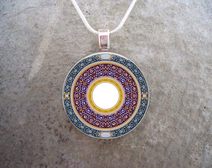 Celtic Jewelry - Blue, Purple, and White Mandala Design - 1 Inch Circle Glass Pendant Necklace - Free Shipping - Style CELTIC36