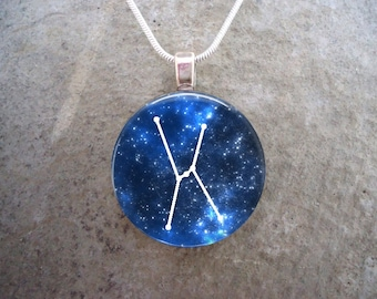 Constellation Orion - Glass Pendant Necklace - Astronomy - Science - Free Shipping - sku CON-ORION