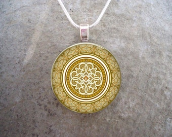 Celtic Jewellery - Glass Pendant Necklace -  - Free Shipping - Style CELTIC37