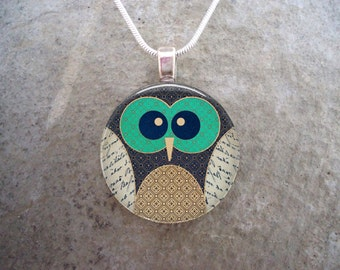 Owl Jewelry - Glass Pendant Necklace - Free Shipping - Style OWL05