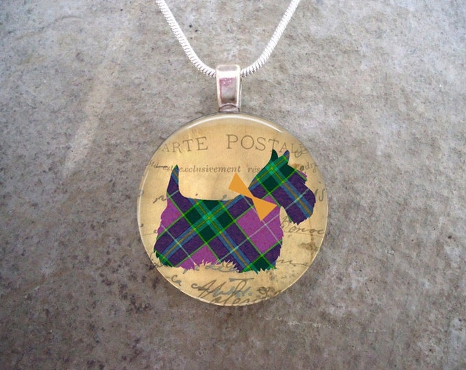 Celtic Jewelry - Dog Jewellery - Glass Pendant Necklace - Free Shipping - Style SCOTTIE19