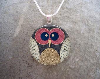 Owl Jewelry - Glass Pendant Necklace - sku OWL03