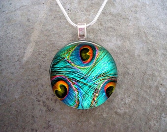 Peacock 15 - Blue Feather Jewelry - Glass Pendant Necklace