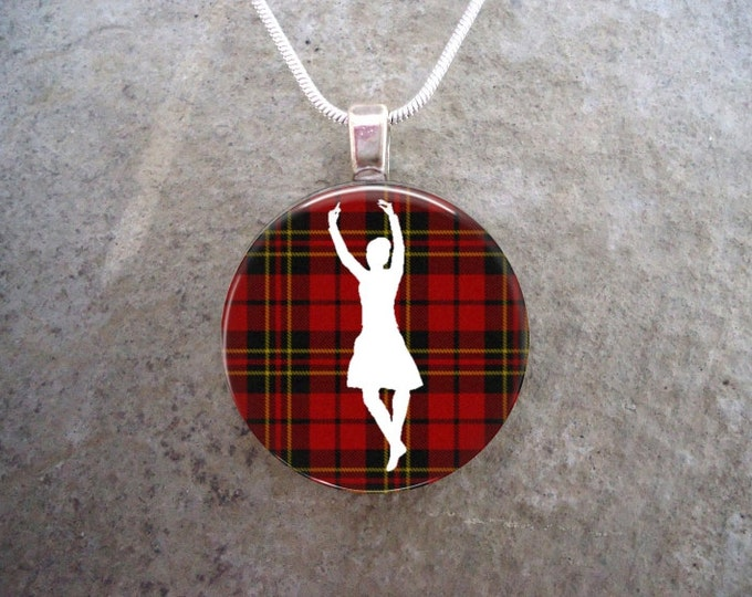 Celtic Jewelry - Glass Pendant Necklace - Highland Bagpipe Jewellery - Dancer on Red Tartan