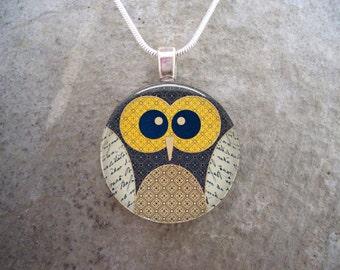 Owl Jewelry - Glass Pendant Necklace - Free Shipping - sku OWL09