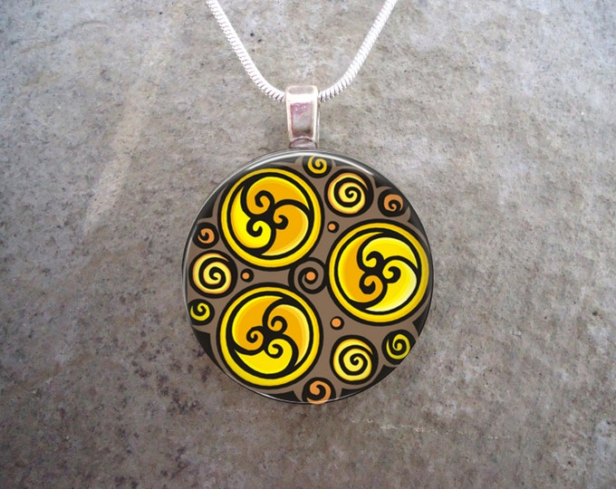 Triple Spiral Brown and Yellow Celtic Jewelry - Glass Pendant Necklace - Wiccan Pagan Druid Themed Gift - Free Shipping - Style CELTIC28