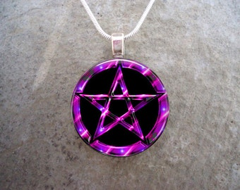 Wiccan Pentacle Jewelry - Glass Pendant Necklace - Black and Pink - Free Shipping - sku PENT-BPINK