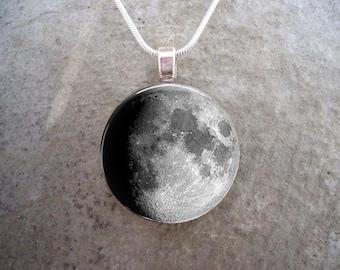 Waxing Gibbous Moon Phase Jewelry - Astronomy Gift - 1 Inch (25mm) - Collect all moon pendants - Free Shipping -sku MOON-WAXGIB