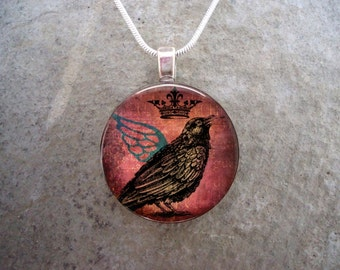 Crow Jewelry - Bird Jewellery - Glass Pendant Necklace - Free Shipping - Style RAVEN06