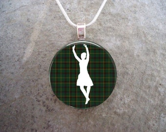 Female Highland Dancer Silhouette on Green Tartan - Scottish Dance Jewelry - 1 Inch Domed Glass Necklace - Free Shipping - sku HIGHLAND13