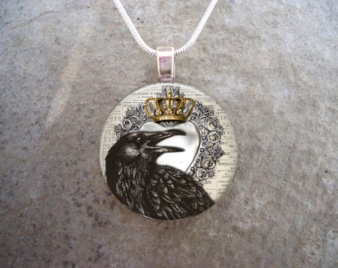 Crow Jewelry - Bird Jewellery - Glass Pendant Necklace - Raven 22