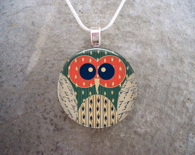Cute Folk Art Inspired Owl Jewelry - 1 Inch Domed Glass Pendant for Necklace or Keychain - Gift for Tweens - Free Shipping - Style  OWL10