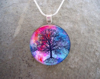 Tree Jewelry - Glass Pendant Necklace - Gift for Mom, Sister, Teachers - Free Shipping - Style TREE10