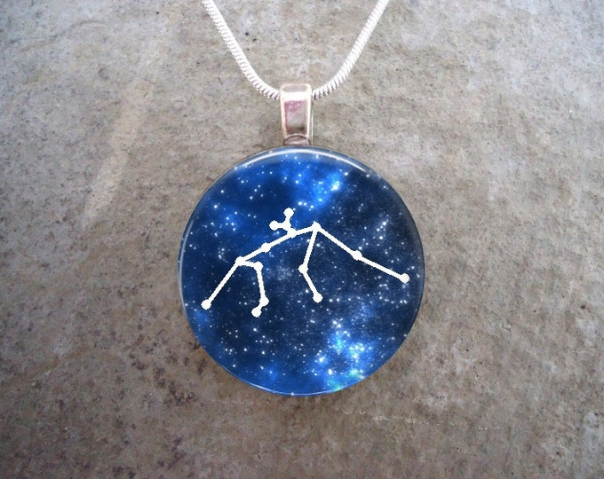Constellation Aquarius Pendant Jewelry - 1 Inch Domed Glass - Keychain Or Necklace - Zodiac Horoscope - Free Shipping - Style CON-AQUARIUS