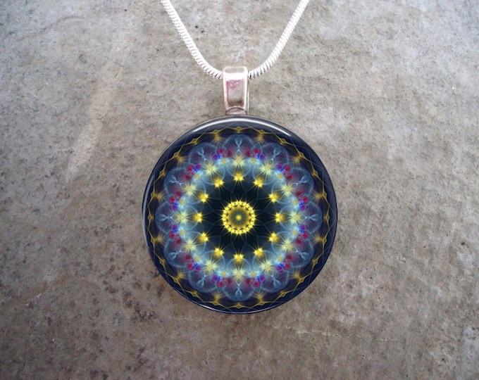 Mandala Jewelry - Glass Pendant Necklace - Mandala 44 - Free Shipping - sku MANDALA44