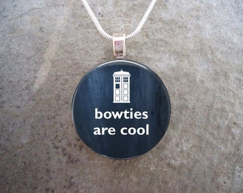 """Doctor Who Gifts - Fan Jewelry """"Bowties Are Cool"""" Quote from Matt Smith  Glass Pendant Necklace - Free Shipping - Style DW-BOWTIES"""