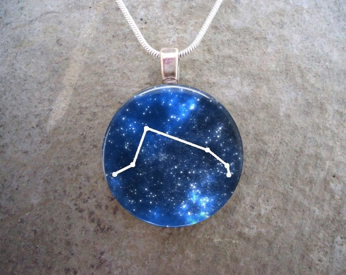 Aries Pendant for Necklace or Keychain - Blue and White 1 Inch Domed Glass Jewelry - Constellation Gift - Free Shipping - sku CON-ARIES
