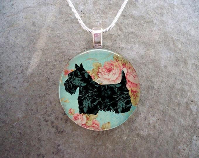 Celtic Jewelry - Dog Jewellery - Glass Pendant Necklace - Free Shipping - Style SCOTTIE11