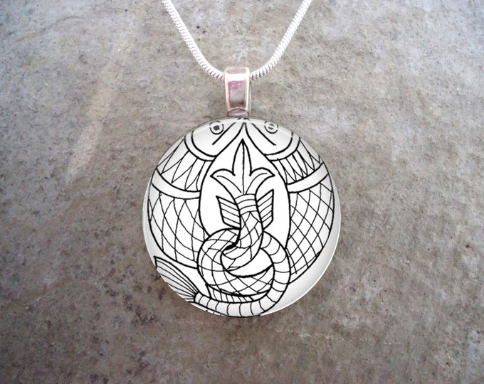 Celtic Jewelry - Knotwork Animals - 1 Inch Domed Glass Pendant Necklace or Keychain - Perfect Unisex Gift - Free Shipping - Style CELTIC02