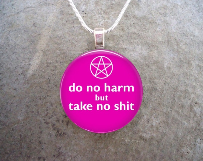 Witchy Pagan Gift - 1 Inch Domed Glass Pendant Jewelry for Key Chain or Necklace - Pink and White - Free Shipping from Canada - sku DNH-PINK