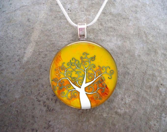 Tree Jewelry - Glass Pendant Necklace - Tree of Life Jewellery - Free Shipping - sku TREE24