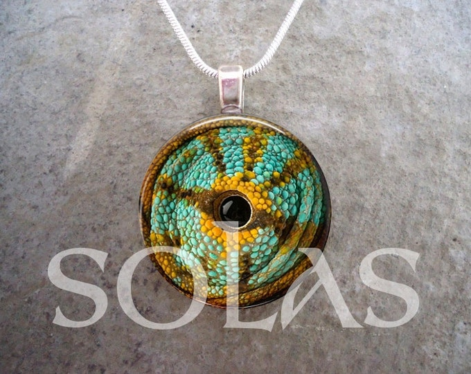 Chameleon Eye Jewelry - Glass Tile & Resin Pendant Necklace - Green, Yellow and Brown Lizard Close-Up - Free Shipping - sku EYE19