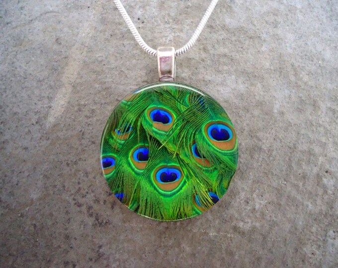 Peacock 12 - Green Feather Jewelry - Glass Pendant Necklace