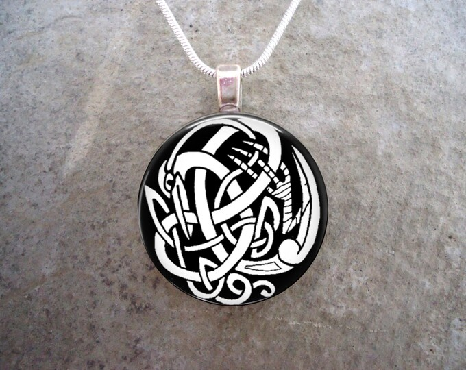 Celtic Bird Knotwork Jewelry - 1 Inch Diameter Domed Glass Pendant Necklace or Key Chain - Black & White - Free Shipping - Style CELTIC06