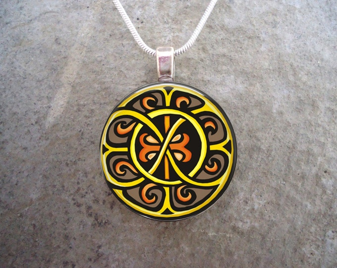 Celtic Jewelry - Brown, Yellow and Orange Knotwork Pendant - 1 Inch Diameter Glass Pendant Necklace - Free Shipping - Style CELTIC25