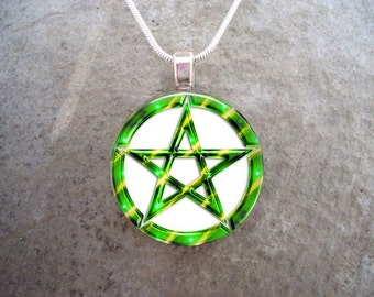 Green and White Wiccan Pentacle Jewelry - 1 Inch Diameter Domed Glass Circle Pendant Necklace or Keychain - Free Shipping - sku PENT-W-GREEN
