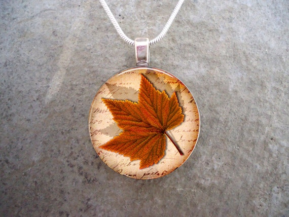 Fall Leaf Necklace Soldered Glass Jewelry Floral Jewelry Maple Leaf Glass Pendant Necklace Glass Necklace