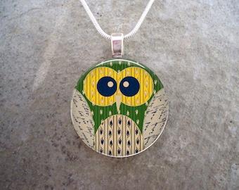 Owl Jewelry - Glass Pendant Necklace - Free Shipping - sku OWL13