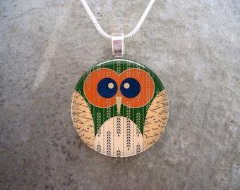 Owl Jewelry - Glass Pendant Necklace - Free Shipping - sku OWL19