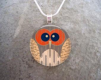 Owl Jewelry - Glass Pendant Necklace - Free Shipping - sku OWL17